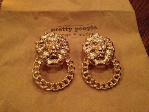 Lion Head Door Knocker Earrings from Pretty People Vintage 108 North Patrick St, Old Town Alexandria
