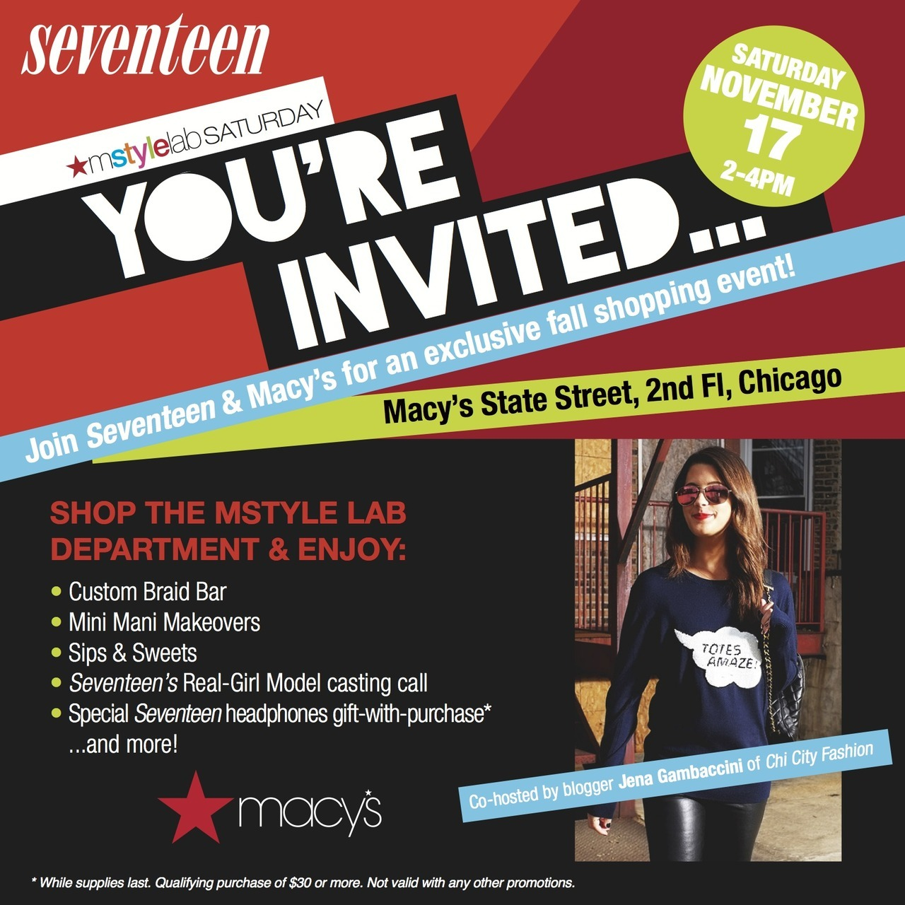 Hope you'll join Seventeen Magazine and I at Macy's on State Street this Saturday. Details on ChiCityFashion.