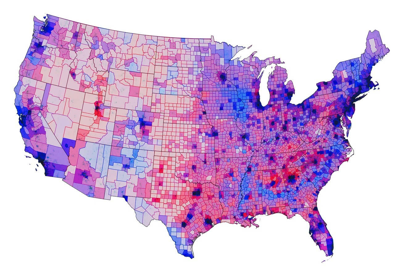 Blending of colors is the new hot topic in election maps visualization. I totally agree with Dietmar that purple, which is the natural result of blending blue and red is a challenging color. He offers a solution based on CMYK and looks like picking a neutral color for 50:50 situation is a reasonable solution. Cyan and Magenta have a good contrast to be distinguished however on the other hand they do not represent the iconic colors of democrats and republicans.  How to achieve a good color blending method for visualizations is a great topic to think and practice. I will post my version soon.  sensingplace:  On the Issue of Color in Election Maps Every election brings us a sweep of beautiful new approaches to visualizing its results. This season, Chris Howard's alpha-blending approach was my favorite - a subtle way of showing population density in relation to the outcome, especially in comparison to the heavy visual rhetoric of distortion cartograms. It suffers, however, from an issue that I notice with almost all election maps: the official parties colors mix into a purple, undistinguisable mess, when mixed in the proportion of the outcome. I would propose tweaking these colors just a bit so they become complementary and  mix to grey, if the vote is 50:50. One way to do this is using a CMYK color scheme using 100% Y and 100% M for the Republican Party, and 100% C for the Democrats. I tried it out in the quick test below (imgur for full size):
