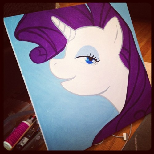 WIP of The first of my mane six painting collection.Will all be for sale soon! 18x18in acrylic on canvas.