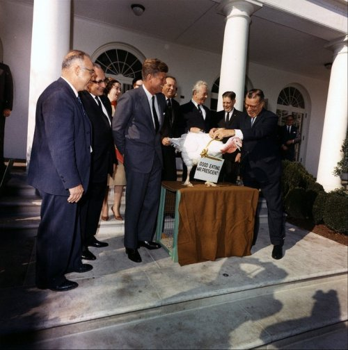 (Not) Good Eating, Mr. President President John F. Kennedy received a Thanksgiving Turkey from members of the Poultry and Egg National Board on November 19, 1963. Although this was before the formal tradition of pardoning a White House turkey each Thanksgiving, President Kennedy spontaneously spared this turkey. -from the JFK Library