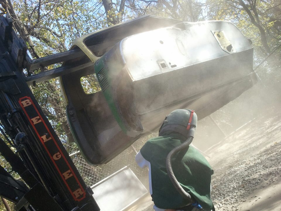 Sandblasting the cab of the Pakistani Cargo Truck-