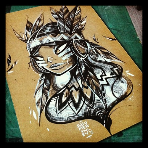 guymckinley:  Finished my A4 Indian Ink and Acrylic Apache Girl contribution to the Cardboard Shelter exhibit w/ @ric_oshea @thepuregallery later this month. All proceeds go to the homeless charity Crisis.  Each piece is priced at only £40 so get yourself down to Pure on the 29th of November at 7pm.