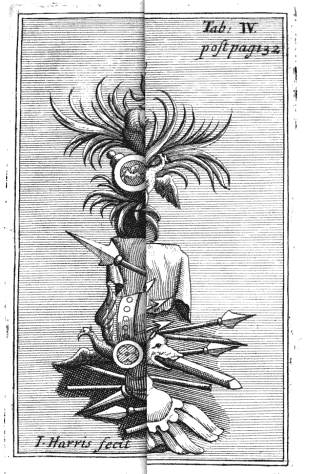 Hybrid coat of arms (plate left folded). From p. 133 of Iulii Vitalis Epitaphium by Henry Dodwell and William Musgrave (1711). Original from the Bavarian State Library. Digitized October 12, 2009.