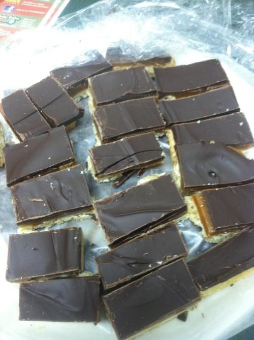 Second on my list are these home-made Twix bars. I saw the recipe floating around awhile back, and had to try it. Wifey was also upset because our Halloween candy stash did not include Twix, so we made our own(Wifey helped with the caramel, she always thinks I'm going to burn my face off). These were AWESOME. Once they're done, you have to chill them to firm them up, but when you take them out and let them sit for a bit, they get gooey and amazing. I salted one batch, which was good, but I should probably get some better salt for it. A for Twix Bars.