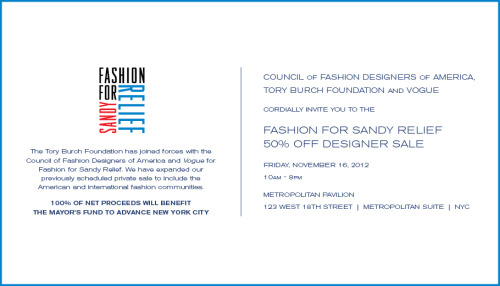 dknyprgirl:  FASHION FOR SANDY RELIEF 50% OFF DESIGNER SALE The fashion industry has come together for a designer sale to support 'Fashion For Sandy Relief'.  Shop and support this Friday from 10am- 8pm. 100% of net proceeds will benefit the Mayor's Fund to Advance New York City and the Tri-State area. Friday, November 16, 2012 10 a.m. - 8 p.m. Metropolitan Pavilion 123 West 18th Street | Metropolitan Suite To see the amazing roster of participating designers, click here: