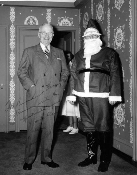 "Merry Christmas! Former President Truman and ""Santa Claus"" (Samuel Rosenman).  December 25, 1958."