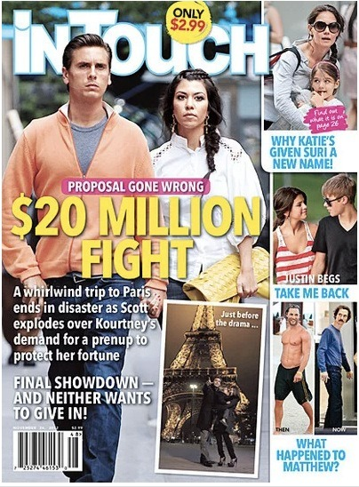 Kourtney Kardashian and Scott Disick apparently had a rough Paris vacation. Supposedly Kourtney brought up the discussion having Scott sign a pre-nup and Scott was not happy. However, there is reportedly $20 million at stake and let's all be honest, it's Kourtney's money and Scott's more likely to screw up.