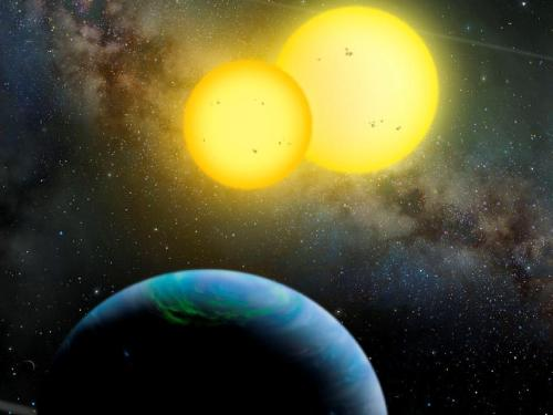 The Kepler-35 System  An artist's rendition of the Kepler-35 planetary system, in which a Saturn-size planet orbits a pair of stars. Kepler-35b orbits its smaller and cooler host stars than our sun every 131 days, and the stellar pair orbits each other every 21 days.