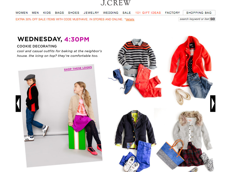 J. Crew Crewcuts came out with their holiday look book. This is what they have for cookie decorating.  Cookie decorating. I don't even look this nice when I'm trying to impress on the second date.