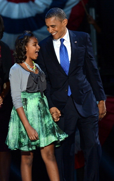 Fabulous Sasha Obama in a Chris Benz skirt. Your dad is president for another four years, isn't that enough?