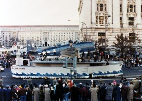 The Inauguration of George H.W. Bush  Inaugural float containing replicas of the USS San Jacinto and the TBM Avenger flown by President Bush when he was in the Navy.  1/20/89. -from the Bush Library