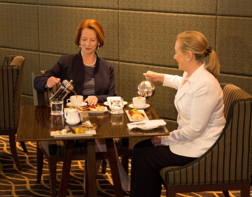 U.S. Secretary of State Hillary Rodham Clinton meets with Australian Prime Minister Julia Gillard in Perth, Australia, November 13, 2012. [U.S. Embassy in Canberra, Australia photo by Travis Longmore/ Public Domain]