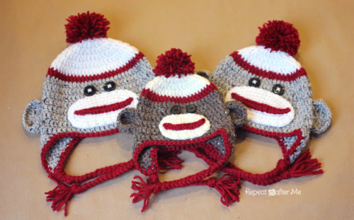 alfabettezoupe:  DIY Crochet Sock Monkey Hats (via Repeat Crafter Me)