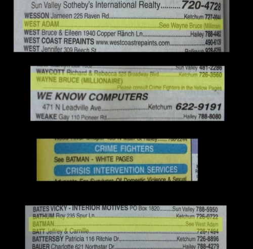 Adam West has the best phone book listing ever And they say there's no point in printed phone books anymore…