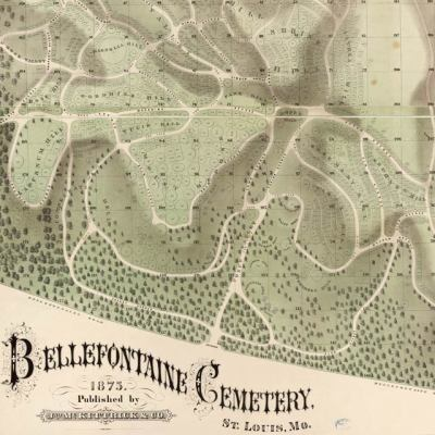 Map: Map of Bellefontaine Cemetery, St. Louis (1875) originally posted to the BIG Map Blog.
