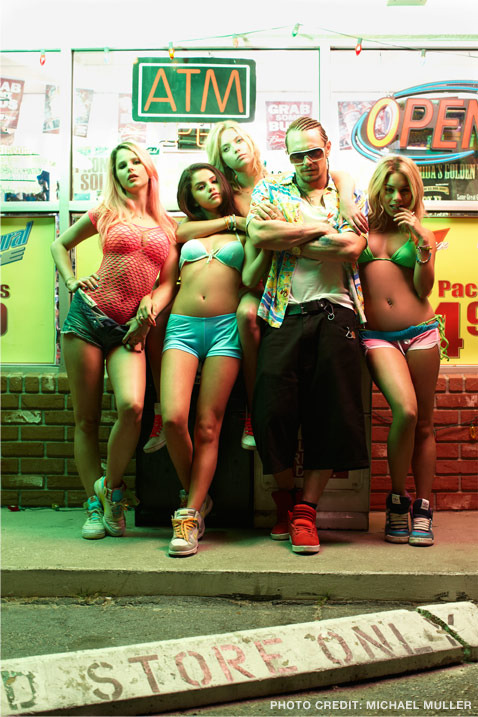 It's official: SPRING BREAKERS is out this spring!  Presented by A24, Annapurna Pictures and HERO, who developed and financed the film in collaboration with MUSE Productions, Spring Breakers tells the story of four sexy college girls as they plan to fund their spring break getaway by robbing a fast food joint. But that's only the beginning… At a motel room rager, fun reaches its legal limit and the girls are arrested and taken to jail. Hungover and clad only in bikinis, the girls appear before a judge but are bailed out unexpectedly by Alien (James Franco), an infamous local thug and amateur rapper who takes them under his wing and leads them on the wildest Spring Break trip in history. `Rough on the outside but with a soft soul on the inside, Alien wins over the hearts and dreams of the young SpringBreakers, and leads them on a Spring Break they never could have imagined. Read more about the release and the film over at Coming Soon.