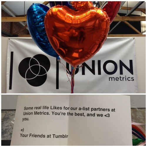 unionmetrics:  Aww, thanks Tumblr!   We <3 you!  *like*