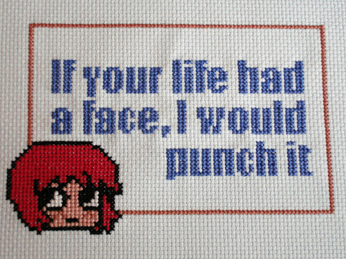 "stitchedtodeath:  ""If your life had a face, I would punch it."" - Kim Pine, ""Scott Pilgrim""Pattern courtesy of Pixystitches  cute"