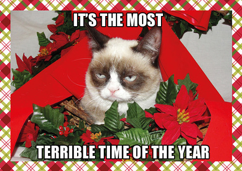 tastefullyoffensive:  Grumpy Cat's Holiday Card