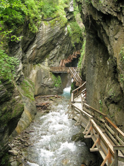 visitheworld:  Wooden pathway in Sigmund Thun Gorge, Austria (by Leo-setä).