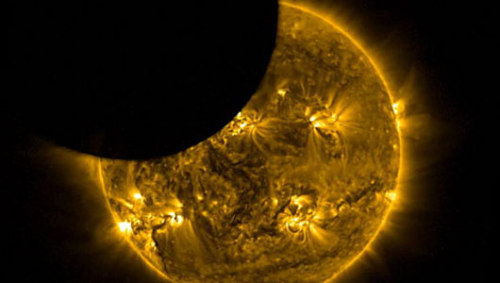 Satellite spies solar eclipse from space in videoThe solar eclipse provided scientists with the rare opportunities to make observations on visible-light.