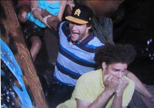 PHOTO: Robin Lopez. Nah. He ain't afraid of Splash Mountain at all!