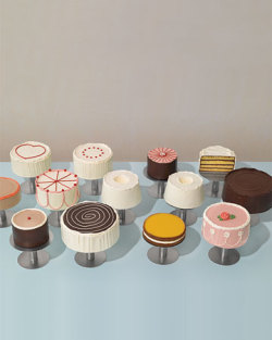 "Happy 92nd Birthday to Wayne Thiebaud!   From our website: Thiebaud is best known for his paintings of cakes, pies, and candies arranged in classic diner or cafeteria style. Thiebaud depicts these objects as commodities, their emphasis on appearance as much as taste. He achieved this effect through serial repetition, synthetic colors, and, famously, by painting with a knife, as if he were spreading the ""frosting"" onto his cakes. By focusing on sugary foodstuffs, Thiebaud updated the traditional still-life genre for the age of mass production and consumption.  Pictured: Blue Bottle pastry chef Caitlin Williams Freeman's sweet interpretation of Thiebaud's Cakes (click through to see the original painting!), shot last year for Martha Stewart. Blue Bottle will be baking cakes from this series today, so come stop by for a slice!"