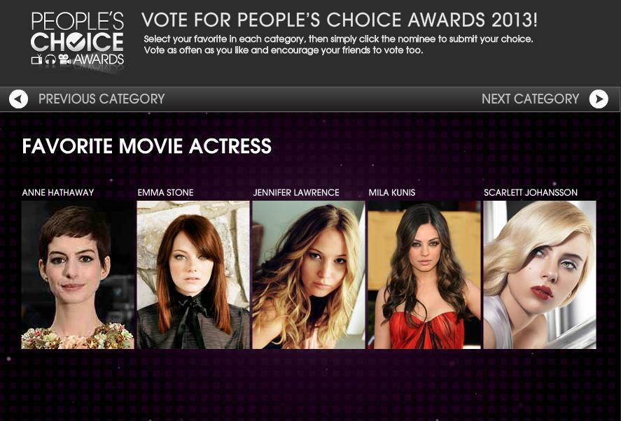 Head over to the People's Choice Awards website and vote for Scarlett!