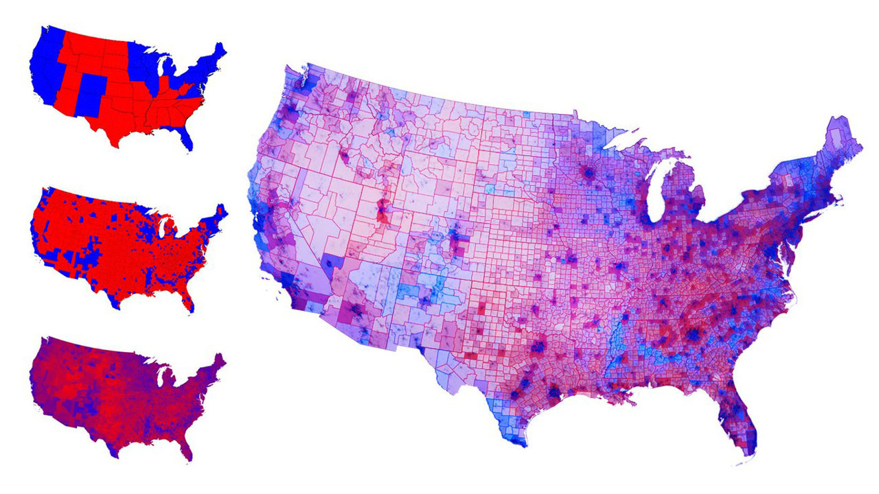 "stribs:  A great reminder that red and blue states don't really exist. At best, that red state/blue state divide is an over-simplification, which appeals to our tendency towards binary thinking. Our desire to easily categorize everything, even when nuance would be more desirable. Via ""This Is the Real Political Map of America—We Are Not That Divided"" on Gizmodo"