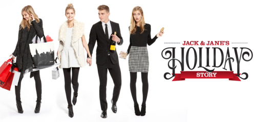 Introducing  JACK & JANE'S HOLIDAY STORY A 10-Chapter shoppable storybook that follows our fictitious DKNY couple, Jack & Jane, through the weeks leading up to the holidays, with new chapters being released every few days! Jack & Jane's Holiday Story is in collaboration with: TEEN VOGUE, TABLET HOTELS, KARLIE'S KOOKIES + MOMOFUKU MILK BAR, FEED PROJECTS, NEW YORK MAGAZINE, SPOTIFY and more….