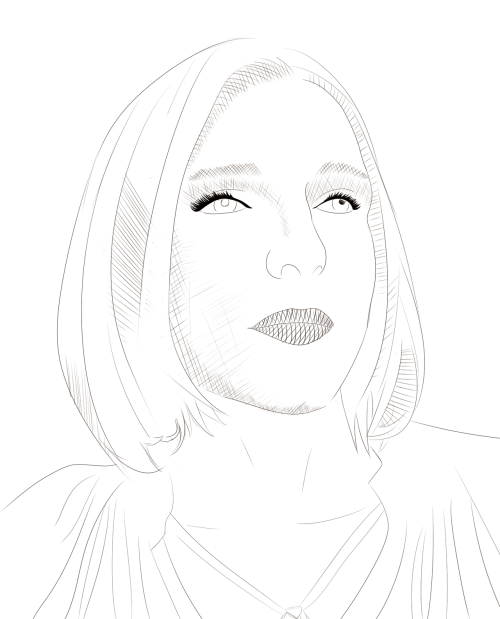 WIP of a picture of my mum for my art class, im going to print with out tommorro on drawing paper before working over it with watercolours
