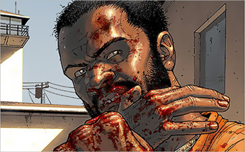 """imwithkanye:  Is it Tyreese? """"The Walking Dead"""" is planning to introduce another popular character from the comic during the Dec. 2nd mid-season finale. Entertainment Weekly seems to think it's the former NFL linebacker.  Could it be Tyreese (pictured above), a former NFL linebacker who was introduced in issue #7 of the comic and endured a rocky relationship with Rick (and romantic relationships with Carol and Michonne) while serving as Grimes' right hand man of sorts. """"I don't know, man!"""" says Kirkman. """"I don't know. I got no clue!"""" While Kirkman is playing coy, rumors have swirled that actor Chad Coleman (best known fromThe WireandI Hate My Teenage Daughter) has been spotted in the Atlanta area where the show films and could be playing the comic book fave.   Shit."""