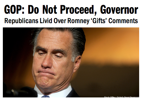 "ro-s-aspa-rks:  tpmmedia:  The Republican critics of Mitt Romney have had enough of their party's failed presidential nominee. After Romney told donors his loss was due to ""gifts"" Obama and Democrats bestowed on women and minorities, Republicans are essentially coming together in a collective ""go away, Mitt.""  Gurl, bye."