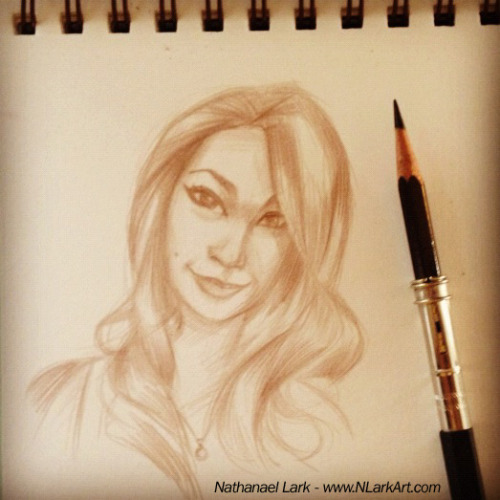 "Day 269: Instagram-tastic!  Today's warm up sketch inspired by my first Instagram follower: sandybaby562 Thanks for jumping on board!   If you'd like to join the fun, you'll find me at: nathanaellark  Daily Diva Drawing - ""Everyday is Better With a Triple D!"" NLarkArt@gmail.com"