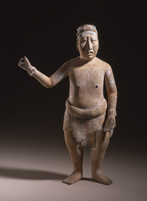 Mayan culture, Mexico, Standing Male Figure, ceramic with maya blue pigment, 600-800