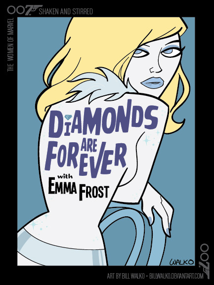 "billwalko:  Emma Frost / Shaken and Stirred by *BillWalko ""The Women of Marvel: Shaken and Stirred"" - One in a series of pieces mashing up the Women of Marvel Comics with bold and beautiful Bond Girls. I was inspired by the extraordinary James Bond book covers by Michael Gilette (http://jamesbondprints.blogspot.com/)."