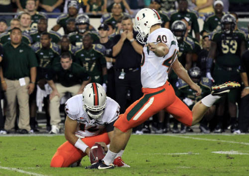 Miami Hurricanes vs. South Florida Bulls - By the Numbers 4 – Times the Hurricanes have faced the Bulls in the past. Miami holds a 3-1 series lead.  6 – Points scored by Miami in its last game against USF, which saw the Bulls score only three of their own. Between them, the two teams managed a combined zero touchdowns and three field goals.  11 – Of Miami's 16 longest plays that have come from freshman running back Duke Johnson. This includes Miami's six longest kickoff returns: 95 (touchdown), 95 (touchdown), 81, 77, 59 and 46 yards.  14 – Successful field goals kicked (out of 19 attempts) by Miami senior kicker Jake Wieclaw. Wieclaw started the season 7-of-7, but missed five of his next six attempts before beginning his current streak of six straight successful attempts.  17 – Seniors on the Hurricanes who will be playing in their final home game: Dalton Botts, Ramon Buchanan, Cameron Dean, Chris Dunckel, Mike James, Davon Johnson, Ben Jones, Paul Kelly, Jeremy Lewis, Eduardo Lopez, Brandon McGee, Shawn O'Dare, Darius Smith, Andrew Swasey, Vaughn Telemaque, Kendal Thompkins and Jake Wieclaw. 43 – Rushing yards UConn was able to collect against USF, which is the fewest the Bulls have allowed this season. USF won the game 13-6 and did not give up a touchdown for the first time since they faced the Canes in 2011. 191 – Receiving yards accumulated by USF sophomore wide receiver Andre Davis in the Bulls' 32-31 comeback win against Nevada, setting the program's single-game record for receiving yards as well as receptions (12).  303 – Points scored by USF senior kicker Maikon Bonani, making him the highest-scoring kicker in program history. 368 – All-purpose yards accumulated by Miami's Duke Johnson against Virginia, which is fourth-most in ACC history, setting a school record in the category.  2,075 – Passing yards posted by USF senior quarterback B.J. Daniels this season. In the Bulls' last game at UConn, Daniels suffered a broken leg. -list compiled by: Darci Miller (@DarciSays)