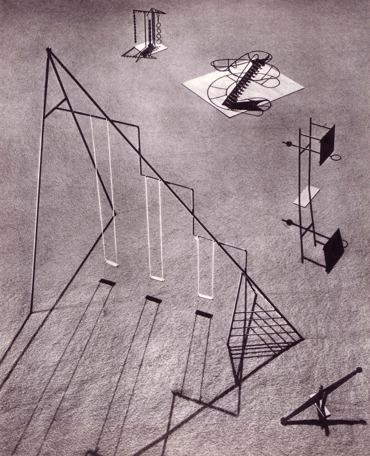 theimportanceofbeingmodernist:  Swings and roundabouts: playground equipment by Isamu Noguchi- Isamu Noguchi is best know for his sculptural wood and glass coffee table and his paper 'Akari' lights. This playground equipment was designed in 1939 for Ala Moana park in Hawaii but unfortunately was never built as the park comissioner died before the scheme was realised. I'm not sure how successful the equipment would be for play, but visually it's pretty amazing (and that's the most important thing) !