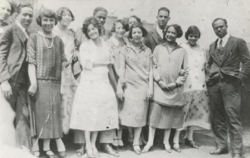 Guests at a breakfast party for Langston Hughes in 1925 including E. Franklin Frazier, Hubert Delany and Rudolph Fisher. hosted by Regina Anderson (Andrews) and Ethel Ray at 580 St. Nicholas Avenue in Harlem. Photo: Schomburg Center for Research in Black Culture, New York Public Library