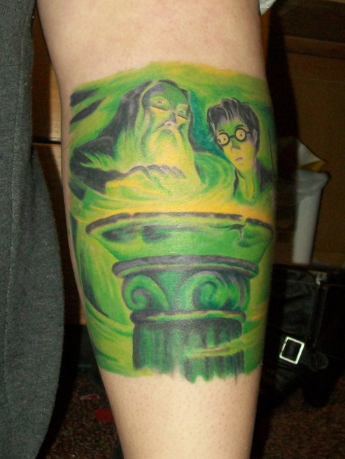 "fuckyeahtattoos:  American cover of ""Harry Potter and the Half Blood Prince"". Done by Chris Leidholdt of Ink Spot Tattoo in Aberdeen, SD.  Fun Fact: Mary GrandPré, who illustrated the American editions of the Harry Potter, was born in Aberdeen, where I got this done!  whoa hardcore"