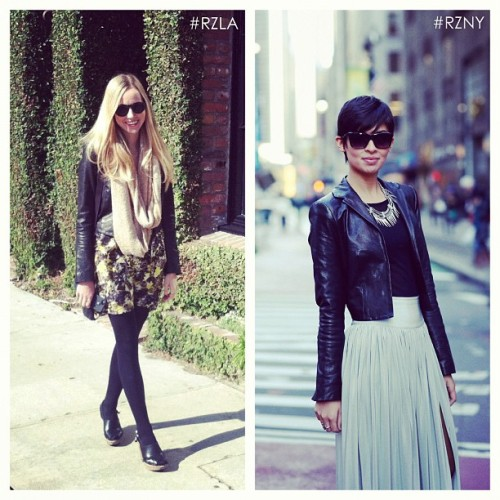 thezoereport:  Team Zoe rocking Rachel Zoe's Bobby leather jacket on both coasts - which style is more you? #RZLA or #RZNY