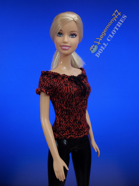 Barbie doll in custom order hand knitted red black top on Flickr.Doll clothes and photo made by Hegemony77
