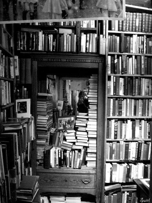 "bookporn:  Library by Swirl  ""Shakespeare and Company. The oldest bookstore of Paris! People live in the library between mountains of books""."