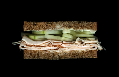 James Beard's Chicken Sandwich: Sliced Chicken, Cucumber, Buttered Whole Wheat Bread. See it on display at The James Beard House through December 2012
