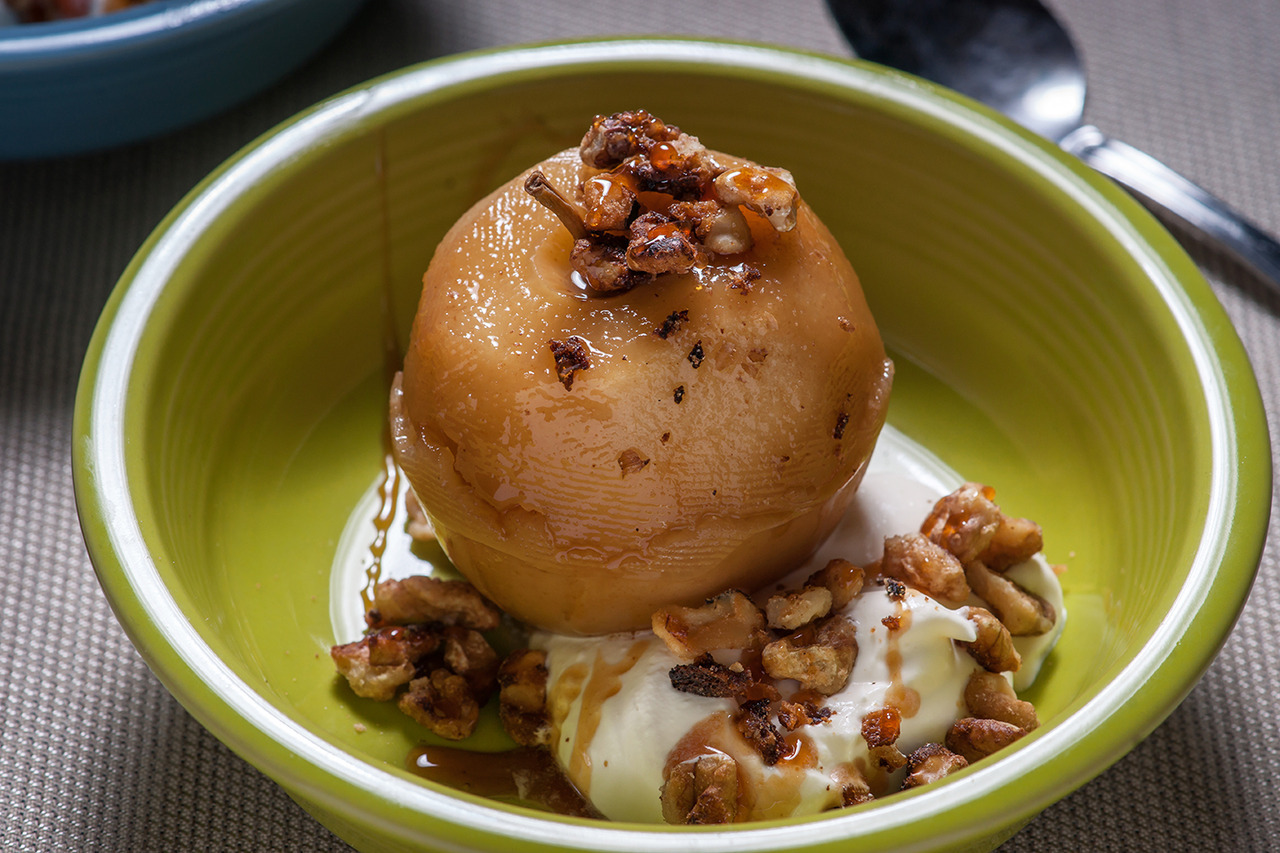 Cider-Poached Apples with Candied Walnuts, Rum Cream, and Cider Syrup - Gourmet: November 2008
