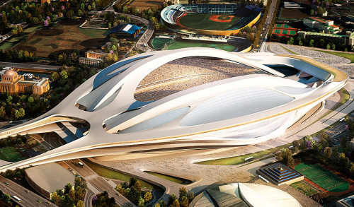 Zaha Hadid wins another one. Japan hopes this puppy wins them the 2020 Olympic Games. Renderings for the National Stadium in Tokyo, Japan.