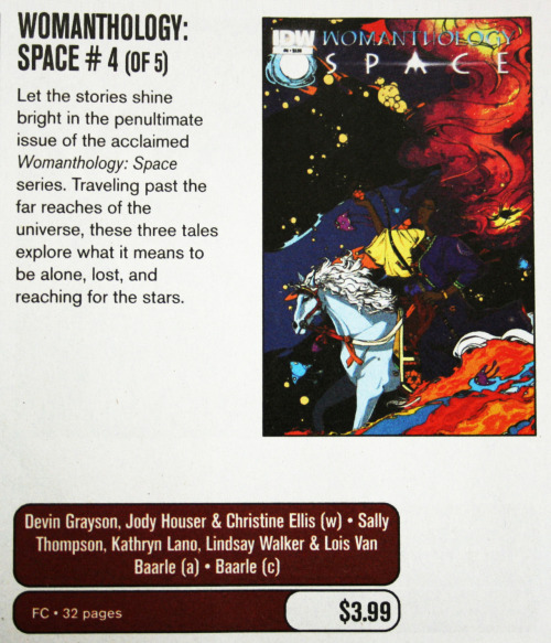 Solicit for Womanthology: Space #4 in this month's Previews. Includes a story written by yours truly with art by Sally Jane Thompson and Kathryn Layno. The issue will be in stores in January! It's crazy seeing your name in a Previews solicit for the first time, right next to the writer of one of your favorite runs of your favorite character. Feeling a tad verklempt.