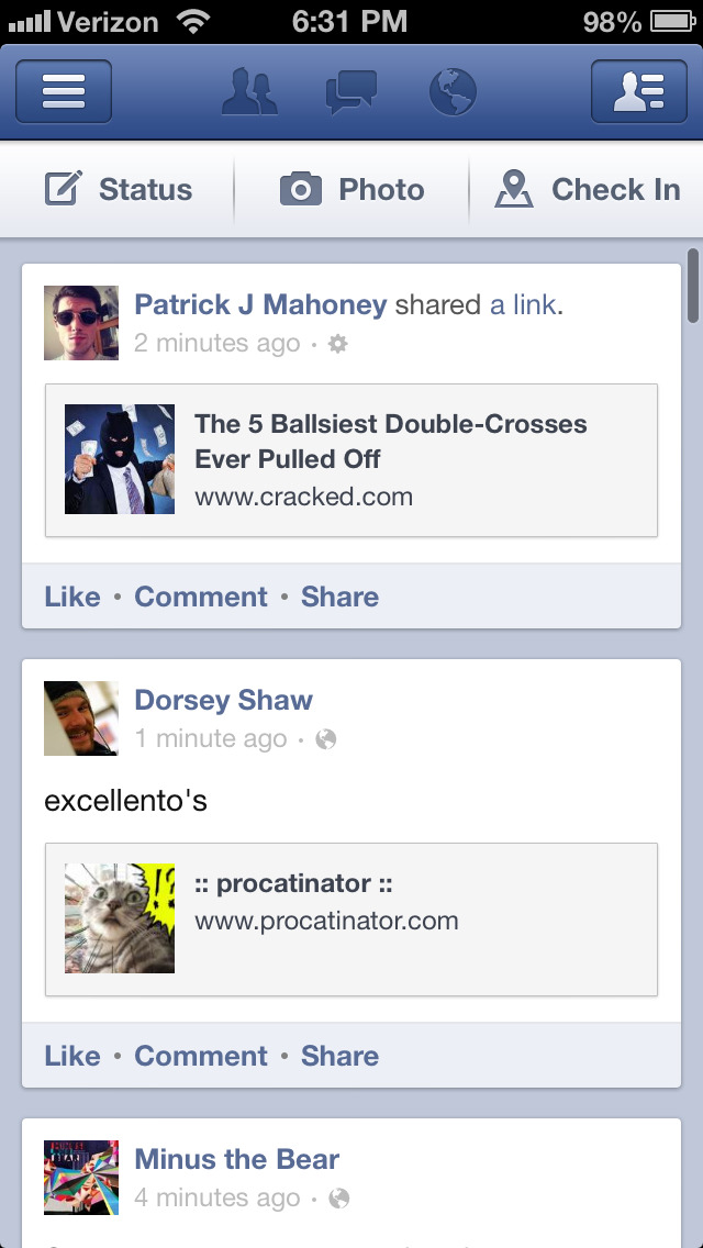 The new Facebook iOS app has in-app sharing, FINALLY.