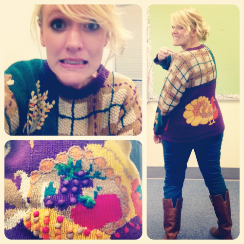 So today for Fashionable Teacher Week (or because we had our class Thanksgiving party), I wore my ugly Thanksgiving sweater. They do in fact exist. The thing is, I got more compliments on my outfit today than ever before. I have mixed feelings about this because, well, it's an ugly sweater!! And yes, that is a cornucopia. Sweater: thrifted Pants: Mossimo, Target Boots: Steve Madden